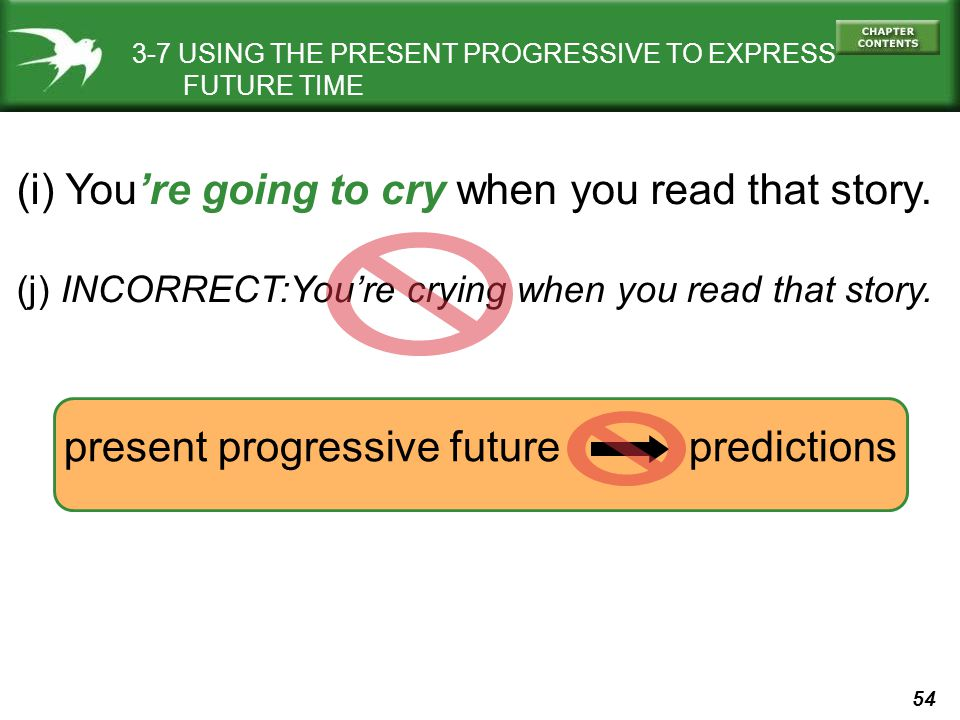 54 3-7 USING THE PRESENT PROGRESSIVE TO EXPRESS FUTURE TIME (i) Youre going to cry when you read that story. (j) INCORRECT:Youre crying when you read
