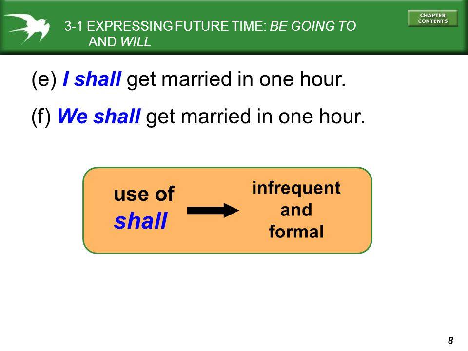 8 (e) I shall get married in one hour. (f) We shall get married in one hour. use of shall 3-1 EXPRESSING FUTURE TIME: BE GOING TO AND WILL infrequent
