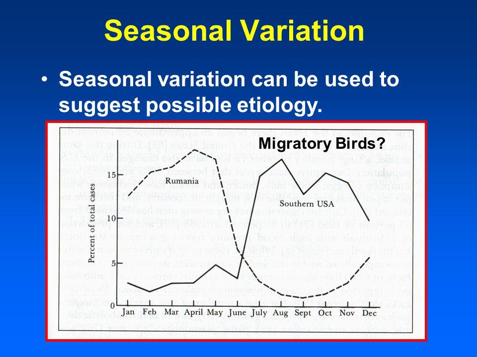 Seasonal Variation Seasonal variation can be used to suggest possible etiology. Migratory Birds
