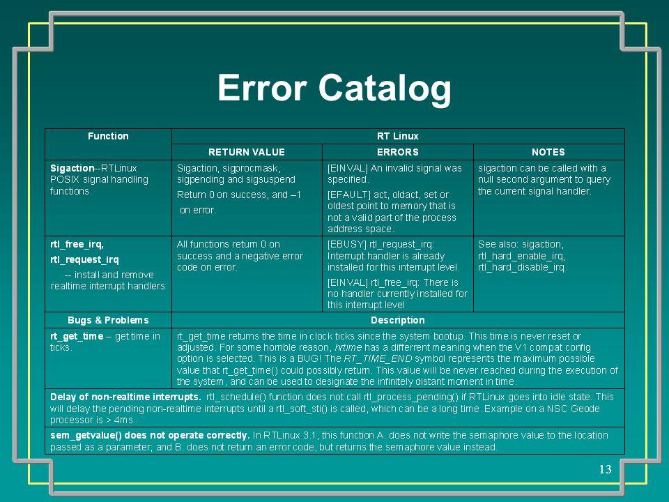 13 Error Catalog