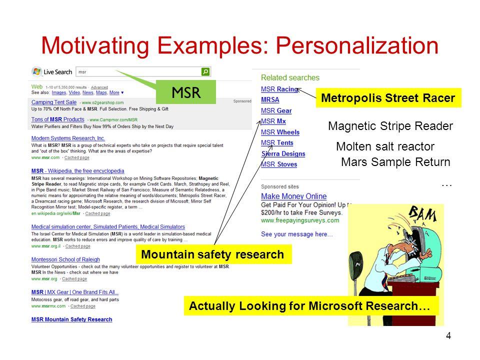 Motivating Examples: Personalization 4 Mountain safety research Metropolis Street Racer Molten salt reactor Mars Sample Return Magnetic Stripe Reader