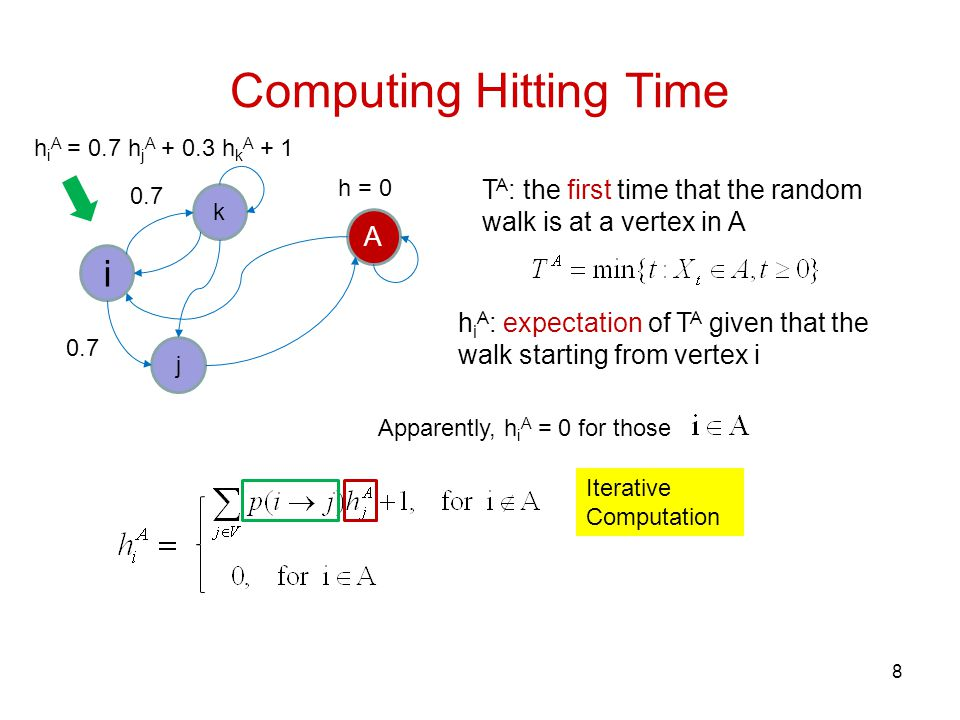 Computing Hitting Time 8 i k A j T A : the first time that the random walk is at a vertex in A Iterative Computation h i A : expectation of T A given that the walk starting from vertex i h = 0 h i A = 0.7 h j A + 0.3 h k A + 1 0.7 Apparently, h i A = 0 for those