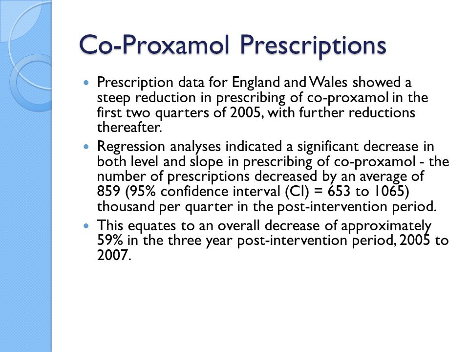Co-Proxamol Prescriptions Prescription data for England and Wales showed a steep reduction in prescribing of co-proxamol in the first two quarters of 2005, with further reductions thereafter.