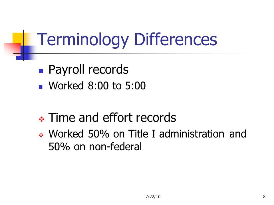 Terminology Differences Payroll records Worked 8:00 to 5:00 Time and effort records Worked 50% on Title I administration and 50% on non-federal 7/22/1