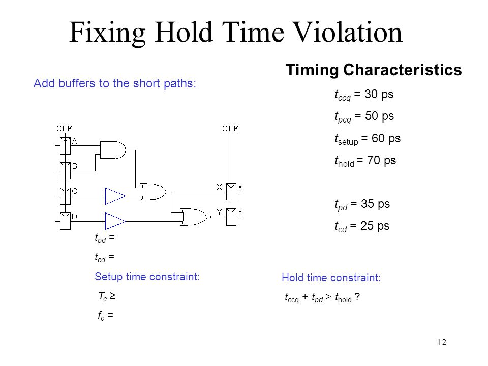 Fixing Hold Time Violation Timing Characteristics t ccq = 30 ps t pcq = 50 ps t setup = 60 ps t hold = 70 ps t pd = 35 ps t cd = 25 ps t pd = t cd = Setup time constraint: T c f c = Hold time constraint: t ccq + t pd > t hold .