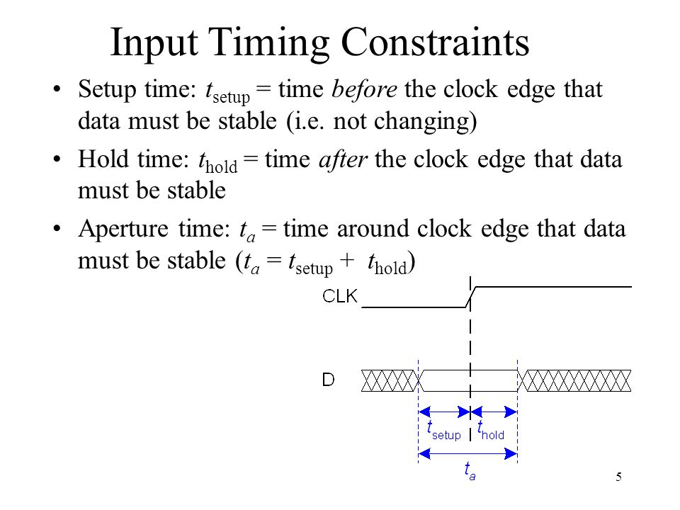 Input Timing Constraints Setup time: t setup = time before the clock edge that data must be stable (i.e. not changing) Hold time: t hold = time after