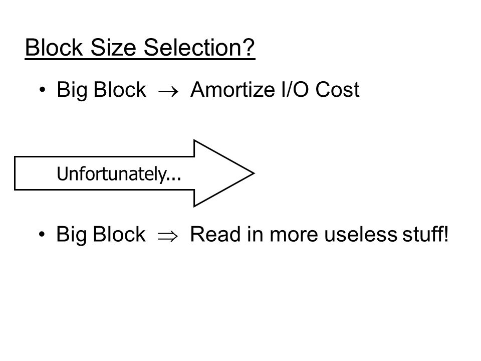 Block Size Selection. Big Block Amortize I/O Cost Big Block Read in more useless stuff.