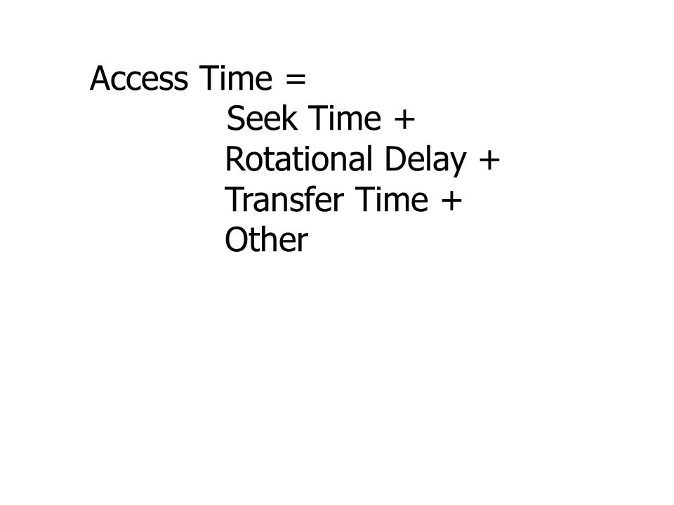 Access Time = Seek Time + Rotational Delay + Transfer Time + Other