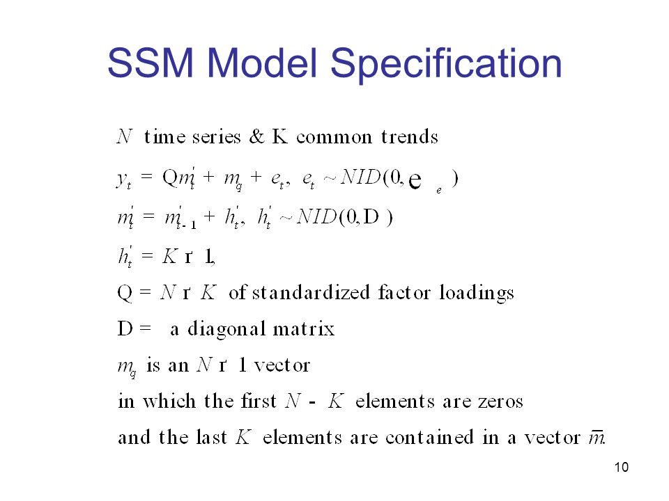 10 SSM Model Specification