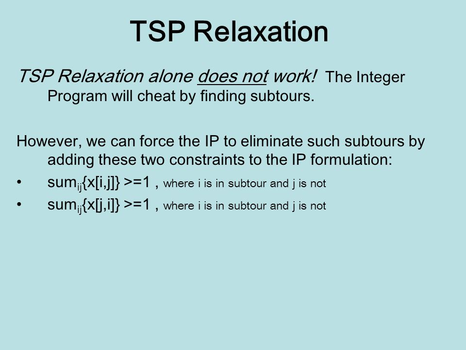 TSP Relaxation TSP Relaxation alone does not work.