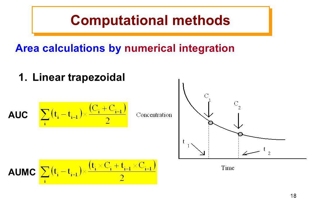 18 1.Linear trapezoidal Computational methods Area calculations by numerical integration AUC AUMC