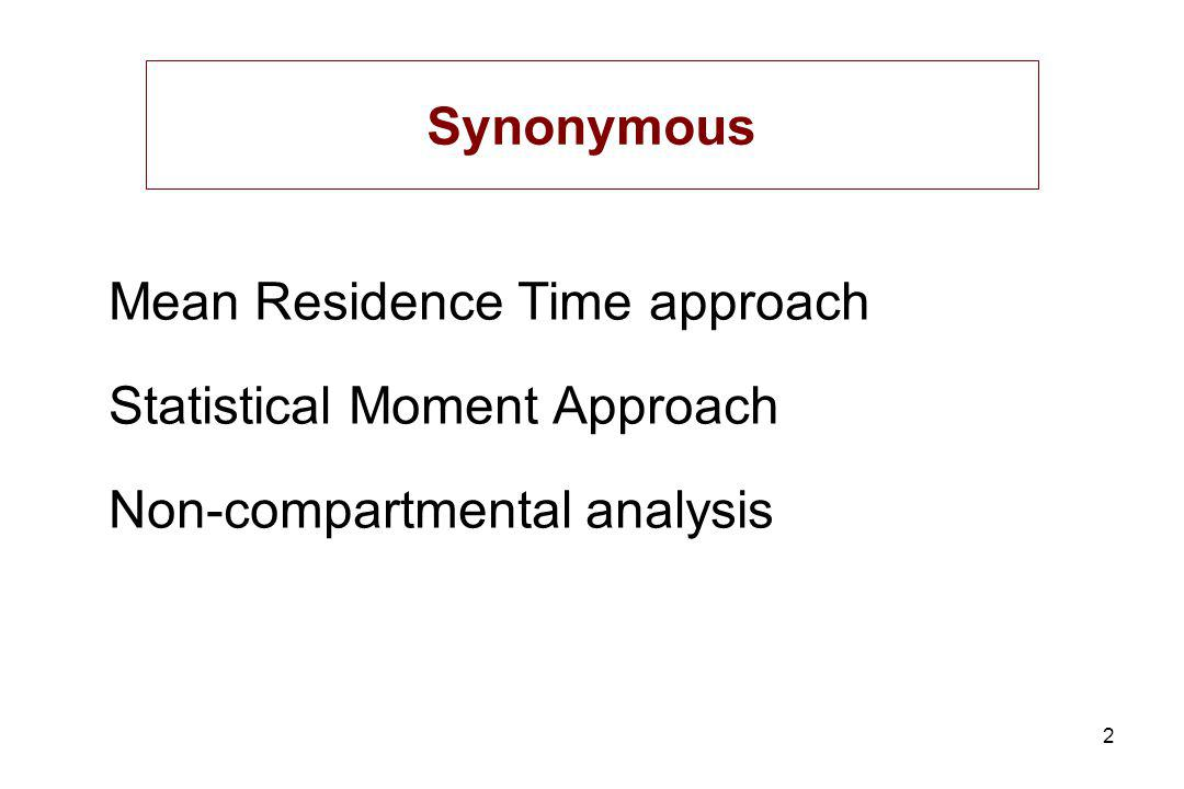 2 Mean Residence Time approach Statistical Moment Approach Non-compartmental analysis Synonymous