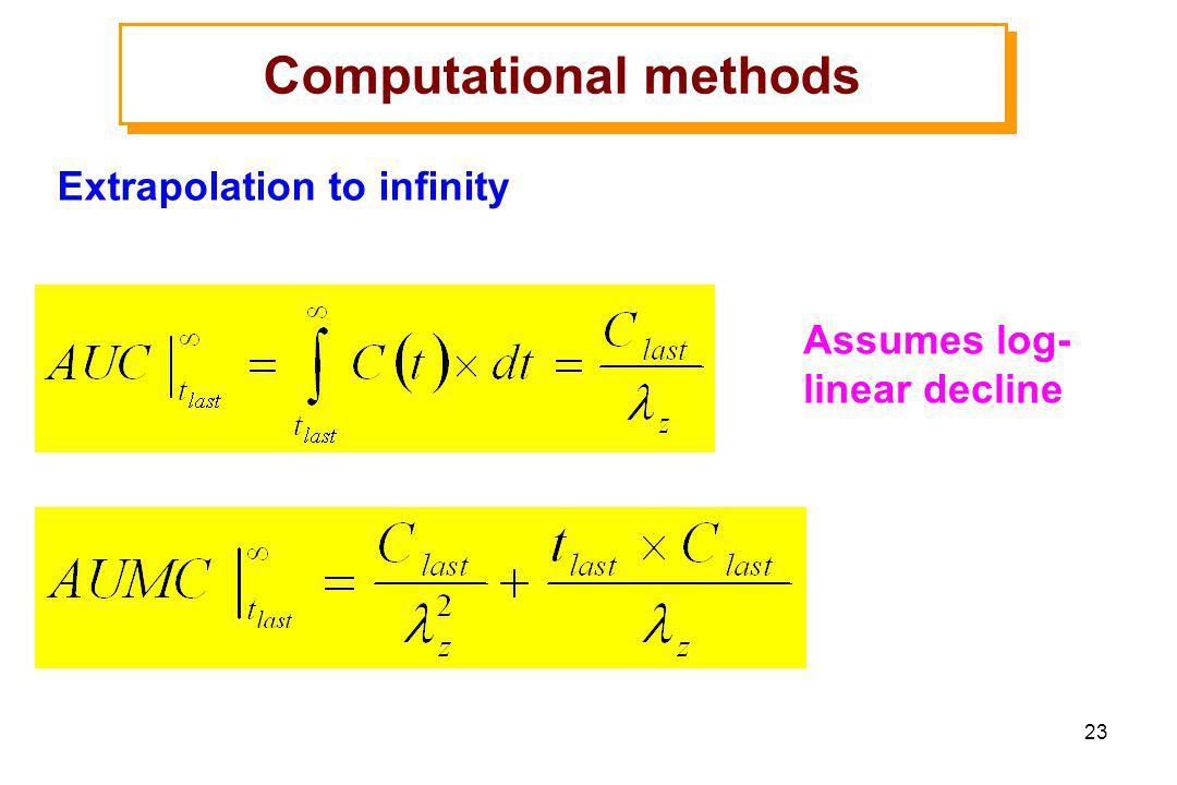 23 Computational methods Extrapolation to infinity Assumes log- linear decline