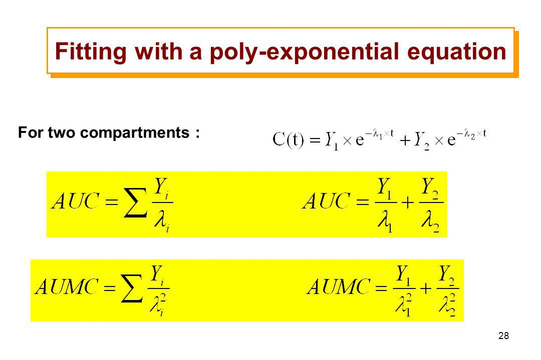 28 Fitting with a poly-exponential equation For two compartments :