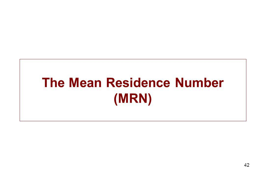 42 The Mean Residence Number (MRN)