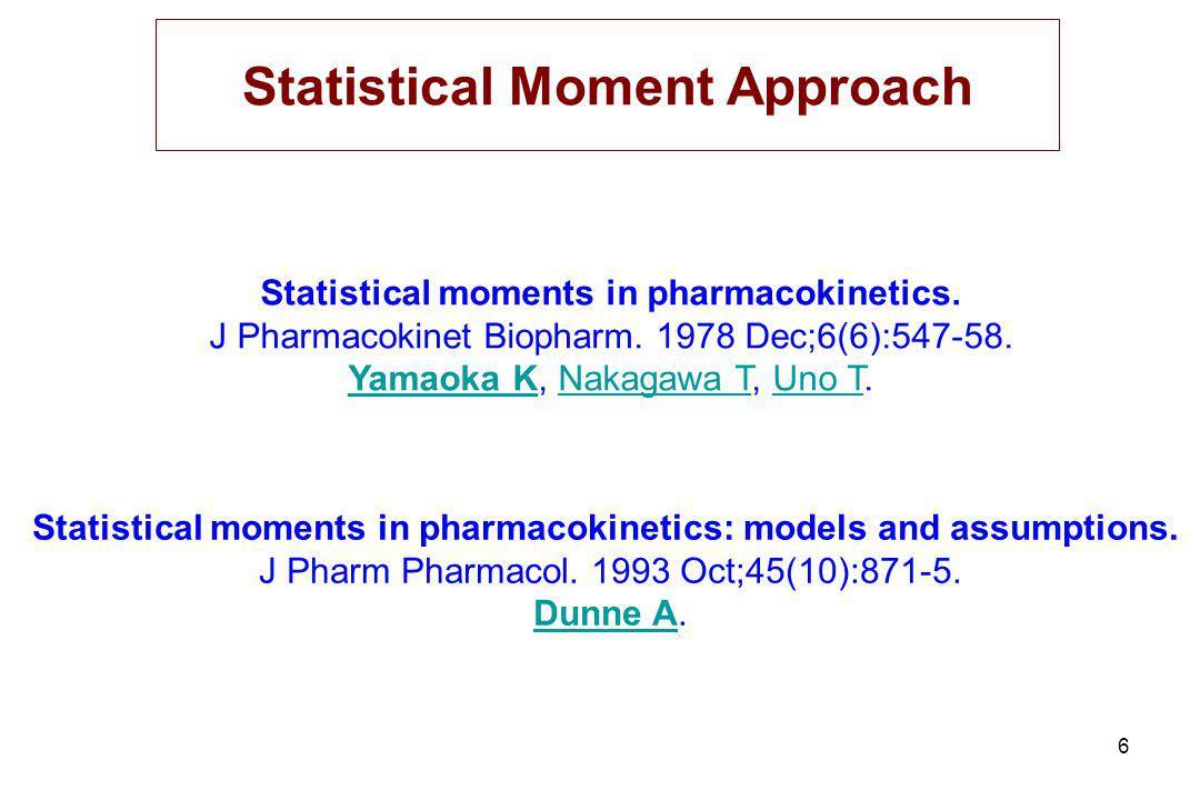 6 Statistical moments in pharmacokinetics.J Pharmacokinet Biopharm.