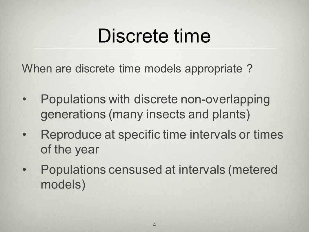 25 Predator-Prey models Analogous discrete time predator-prey model (with mass action term) Displays similar cycles to the continuous version