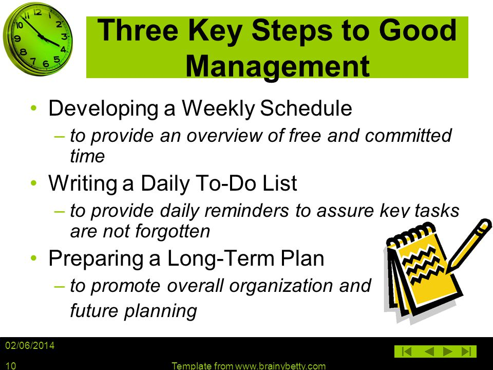 02/06/2014 Template from www.brainybetty.com10 Three Key Steps to Good Management Developing a Weekly Schedule –to provide an overview of free and com