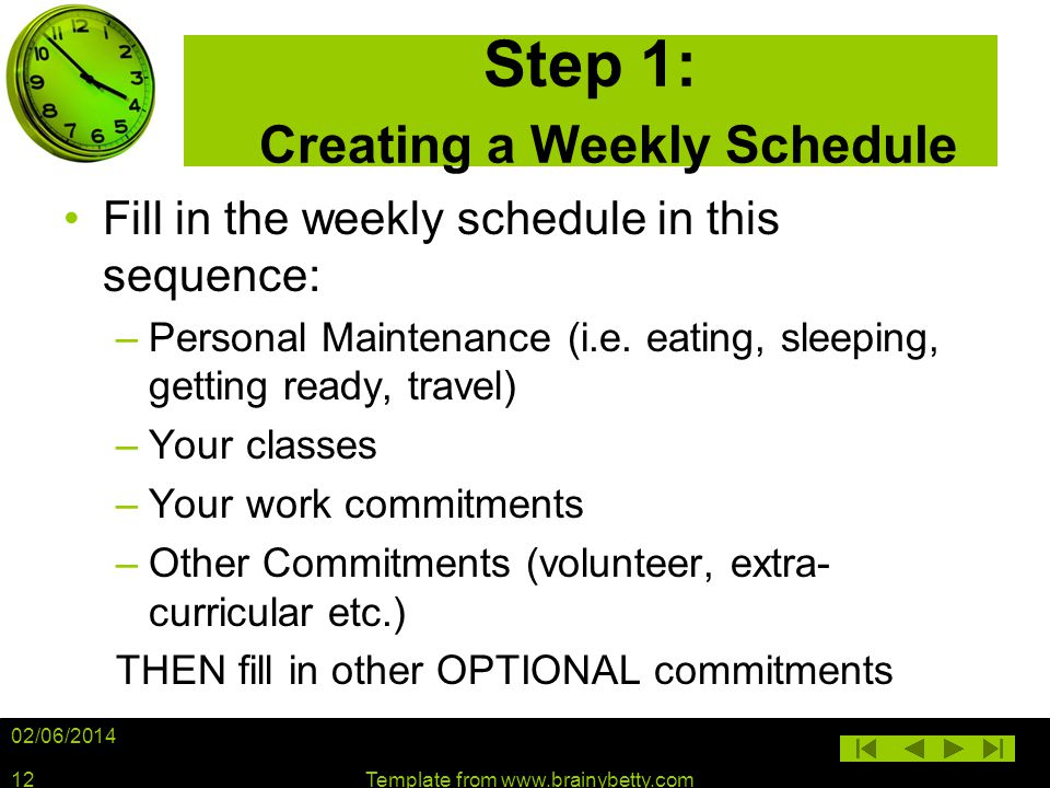 02/06/2014 Template from www.brainybetty.com12 Step 1: Creating a Weekly Schedule Fill in the weekly schedule in this sequence: –Personal Maintenance