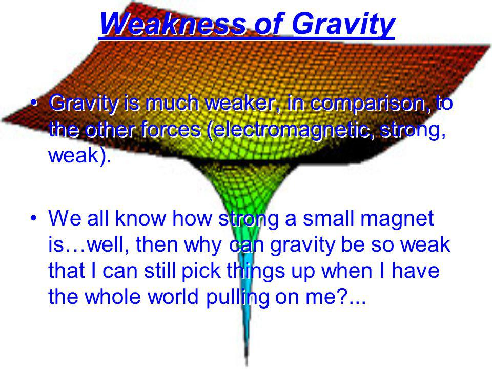Weakness of Gravity Gravity is much weaker, in comparison, to the other forces (electromagnetic, strong, weak). We all know how strong a small magnet