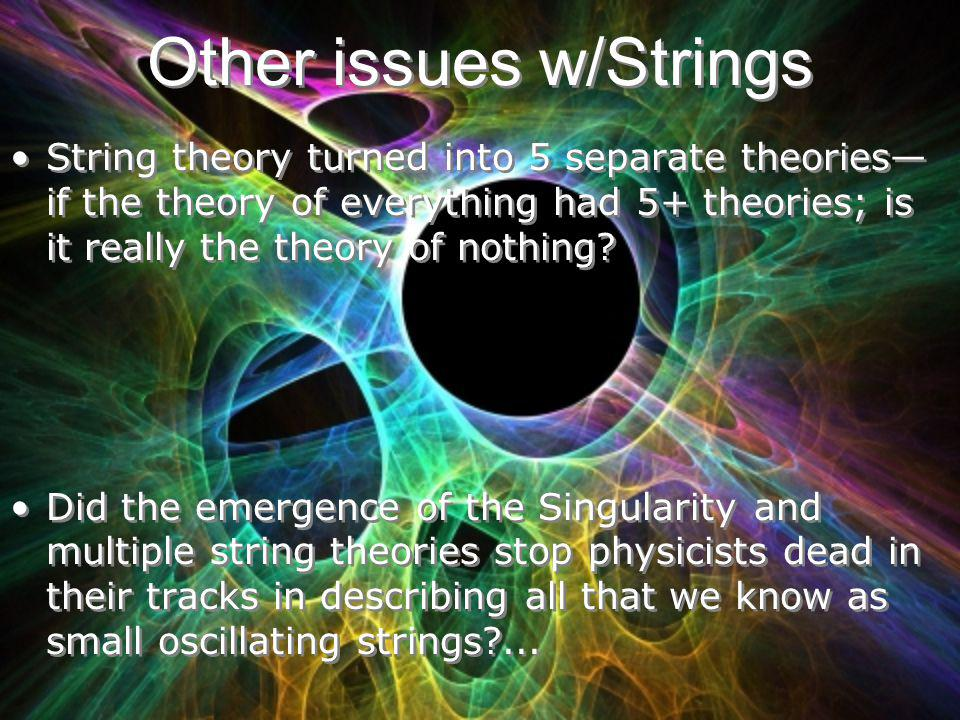 Other issues w/Strings String theory turned into 5 separate theories if the theory of everything had 5+ theories; is it really the theory of nothing?