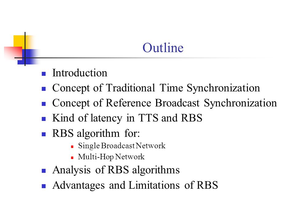 Outline Introduction Concept of Traditional Time Synchronization Concept of Reference Broadcast Synchronization Kind of latency in TTS and RBS RBS alg