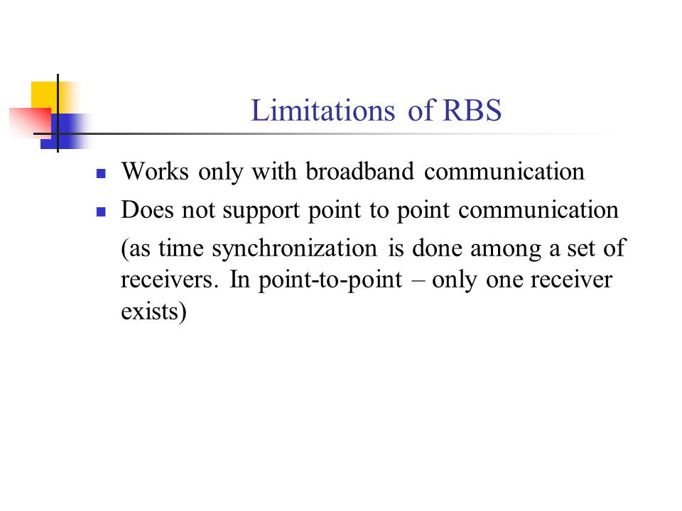 Limitations of RBS Works only with broadband communication Does not support point to point communication (as time synchronization is done among a set