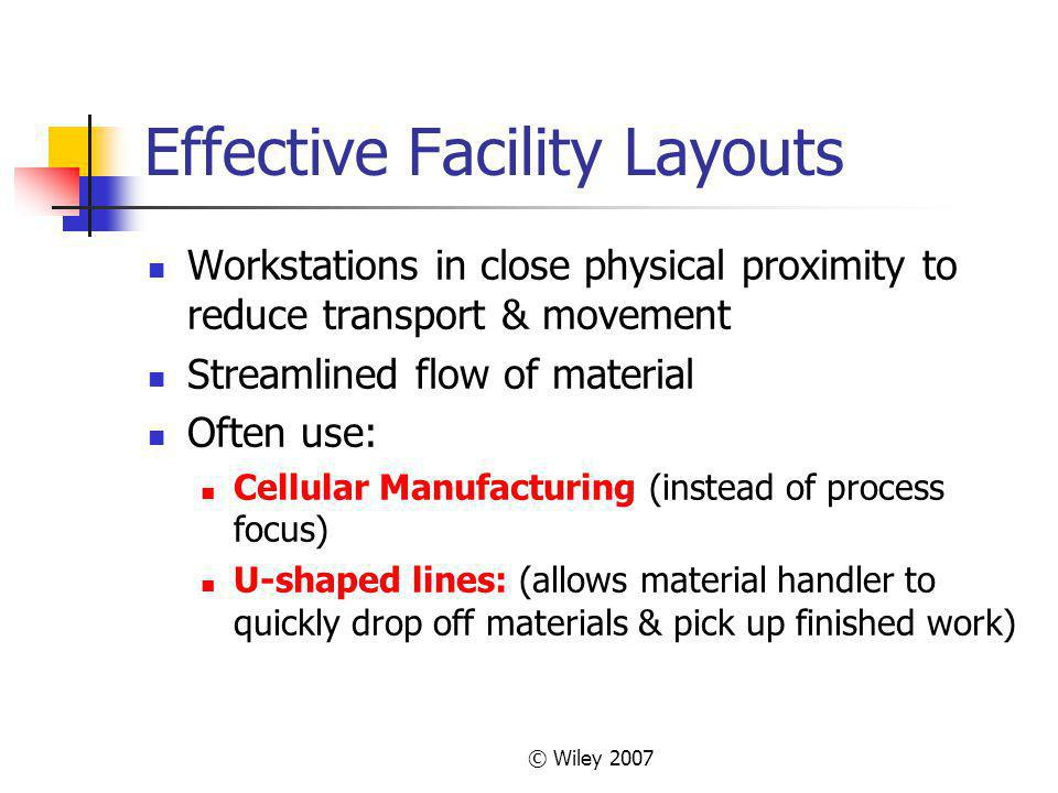 © Wiley 2007 Effective Facility Layouts Workstations in close physical proximity to reduce transport & movement Streamlined flow of material Often use: Cellular Manufacturing (instead of process focus) U-shaped lines: (allows material handler to quickly drop off materials & pick up finished work)