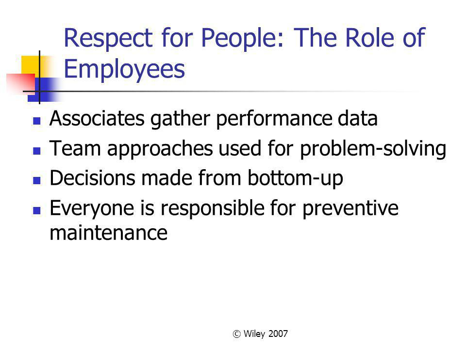 © Wiley 2007 Respect for People: The Role of Employees Associates gather performance data Team approaches used for problem-solving Decisions made from