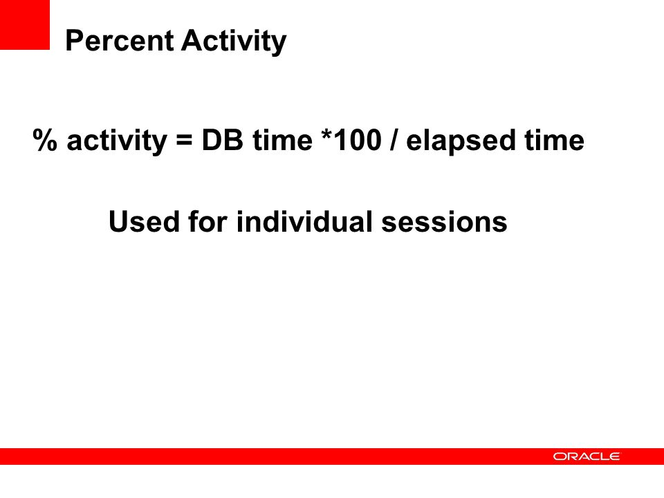 Percent Activity % activity = DB time *100 / elapsed time Used for individual sessions