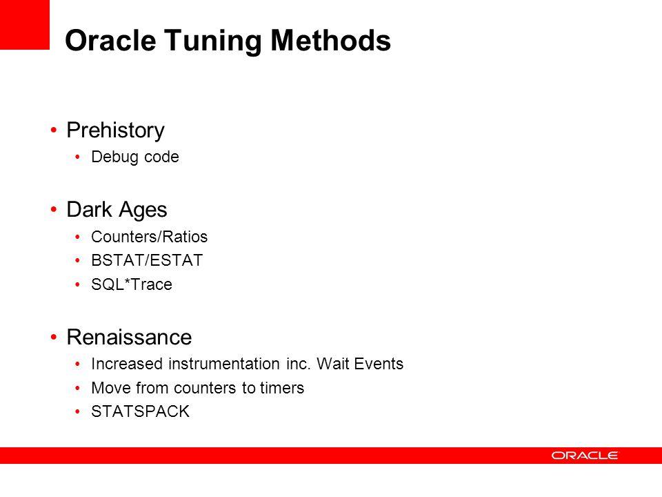 Oracle Tuning Methods Prehistory Debug code Dark Ages Counters/Ratios BSTAT/ESTAT SQL*Trace Renaissance Increased instrumentation inc. Wait Events Mov