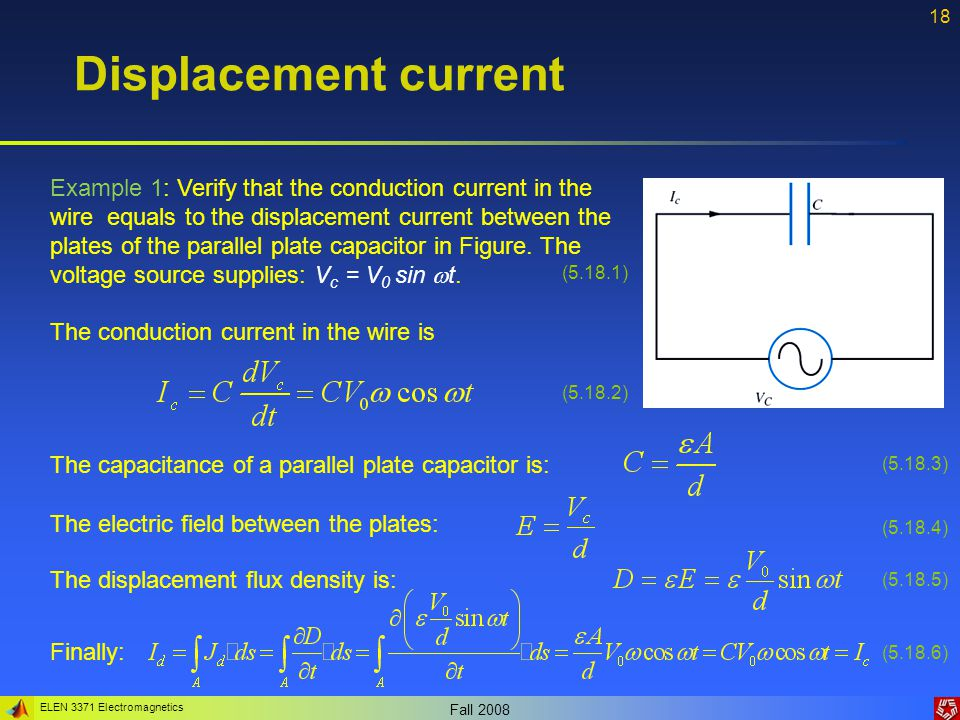 ELEN 3371 Electromagnetics Fall 2008 18 Displacement current Example 1: Verify that the conduction current in the wire equals to the displacement current between the plates of the parallel plate capacitor in Figure.