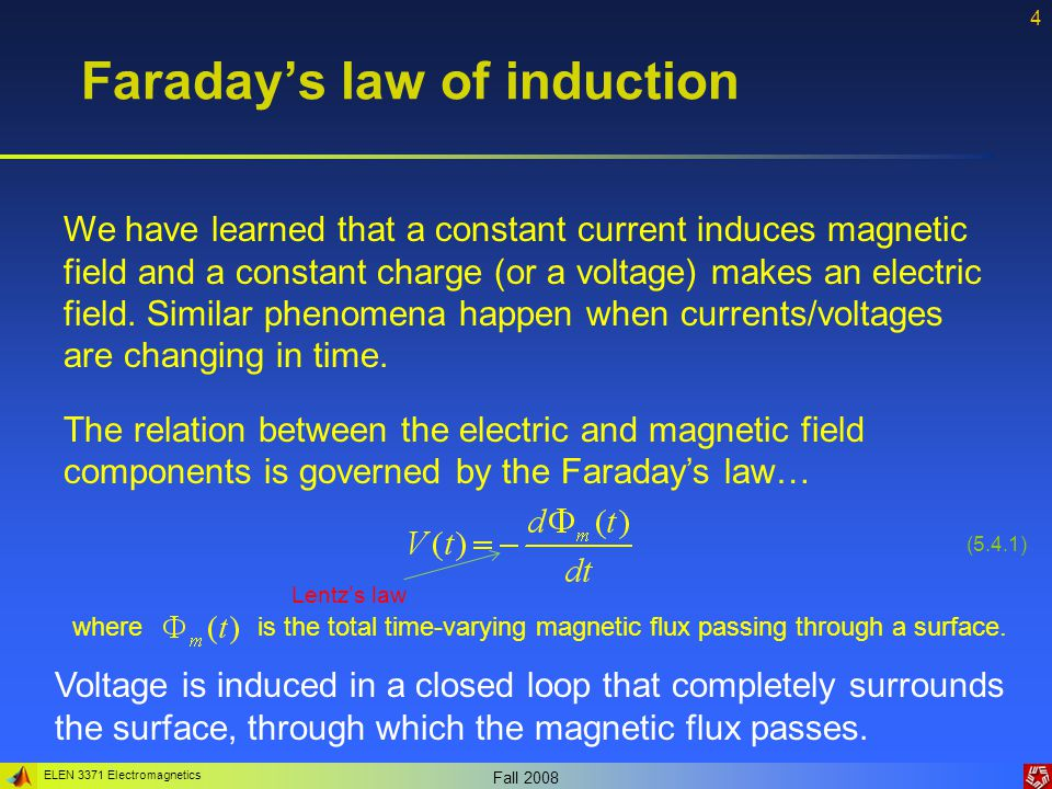 ELEN 3371 Electromagnetics Fall 2008 4 Faradays law of induction (5.4.1) We have learned that a constant current induces magnetic field and a constant charge (or a voltage) makes an electric field.