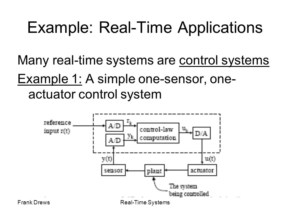 Frank DrewsReal-Time Systems Example: Real-Time Applications Many real-time systems are control systems Example 1: A simple one-sensor, one- actuator