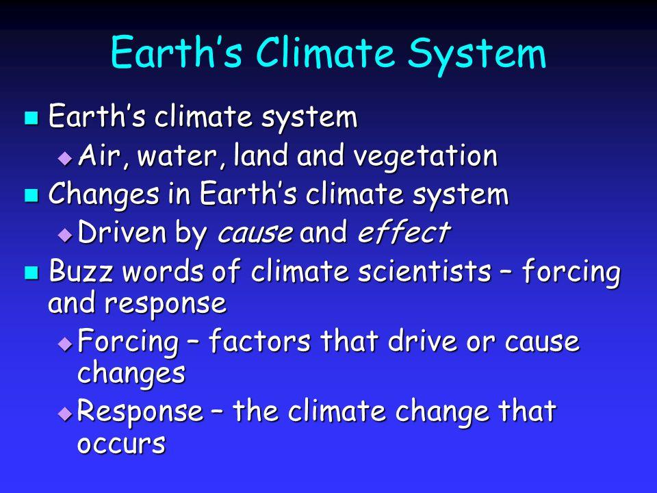 Earths Climate System Earths climate system Earths climate system Air, water, land and vegetation Air, water, land and vegetation Changes in Earths cl