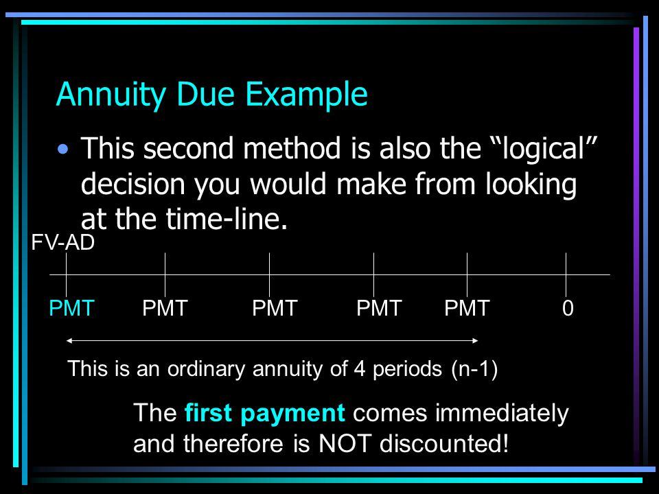 36 Annuity Due Example Alternative adjustment to the IF table is even easier – at least if you write the method at the top of your table! Look up IF f