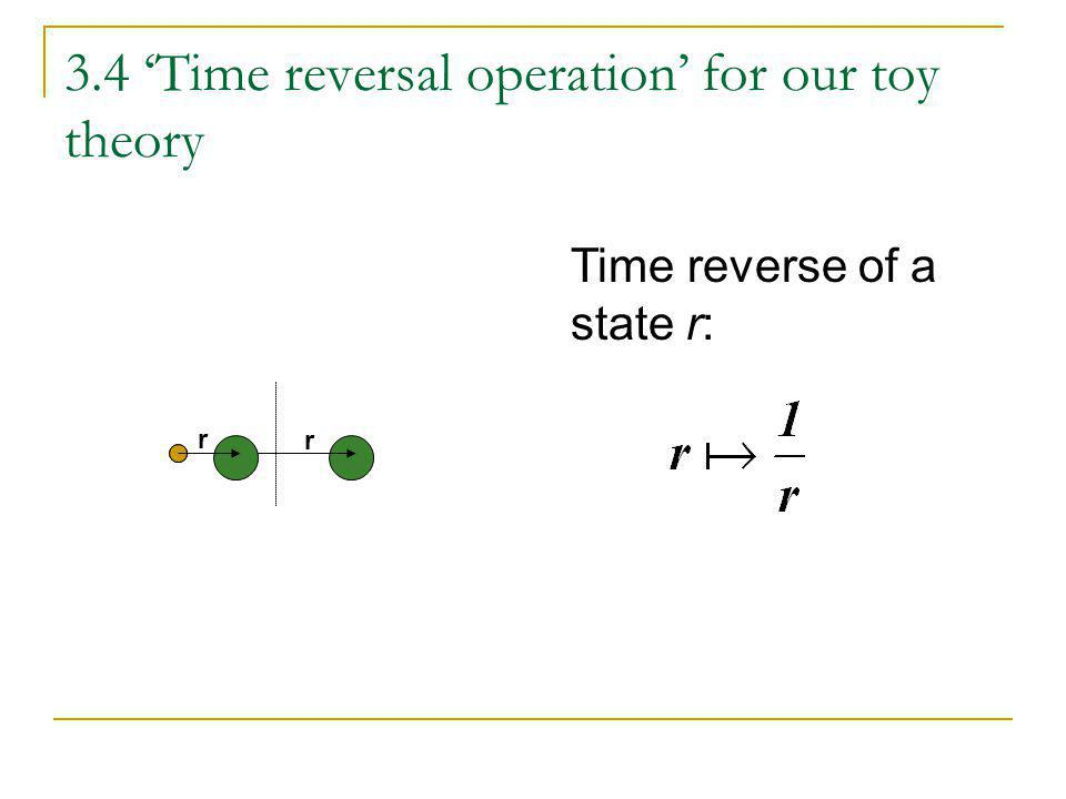 3.4 Time reversal operation for our toy theory Time reverse of a state r: r r