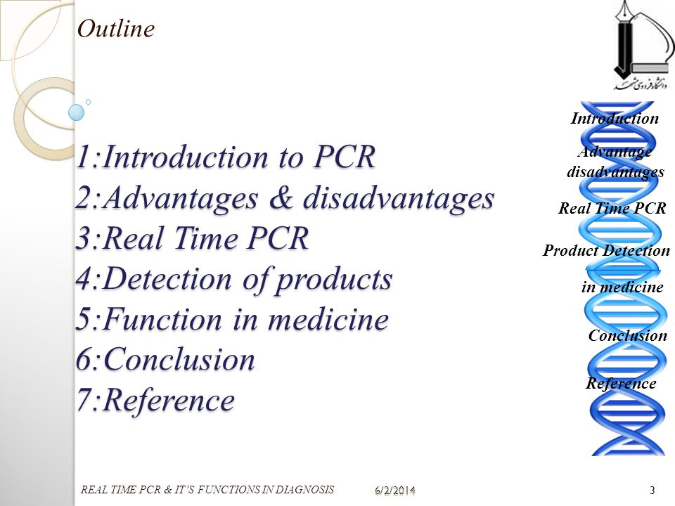 1:Introduction to PCR 2:Advantages & disadvantages 3:Real Time PCR 4:Detection of products 5:Function in medicine 6:Conclusion 7:Reference Outline 6/2