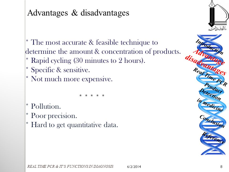 Advantages & disadvantages * The most accurate & feasible technique to determine the amount & concentration of products. * Rapid cycling (30 minutes t