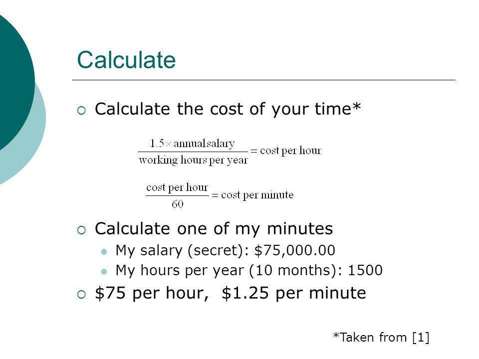 Calculate Calculate the cost of your time* Calculate one of my minutes My salary (secret): $75,000.00 My hours per year (10 months): 1500 $75 per hour