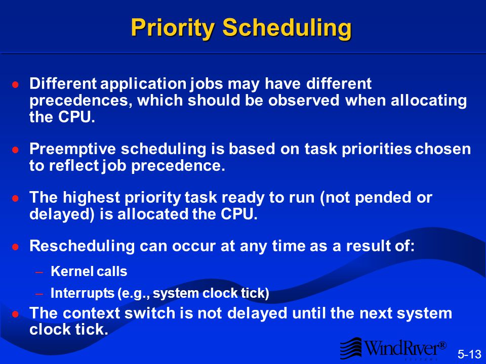 5-13 ® Priority Scheduling Different application jobs may have different precedences, which should be observed when allocating the CPU. Preemptive sch