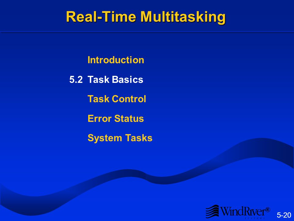 5-20 ® Real-Time Multitasking Introduction 5.2Task Basics Task Control Error Status System Tasks
