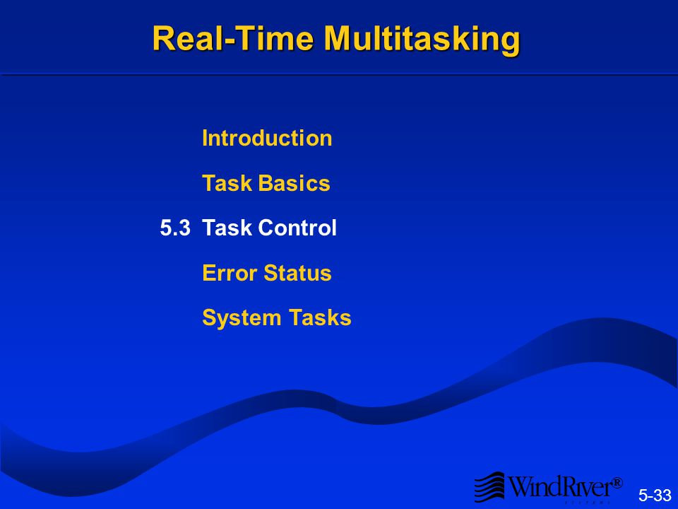 5-33 ® Real-Time Multitasking Introduction Task Basics 5.3Task Control Error Status System Tasks