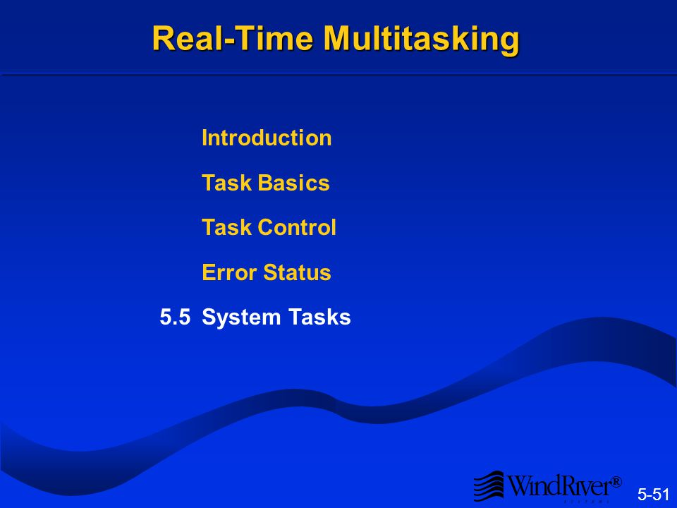 5-51 ® Real-Time Multitasking Introduction Task Basics Task Control Error Status 5.5System Tasks