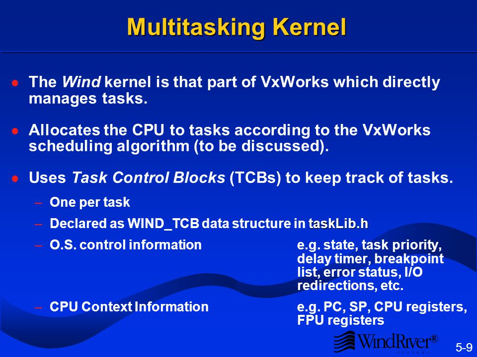 5-9 ® Multitasking Kernel The Wind kernel is that part of VxWorks which directly manages tasks. Allocates the CPU to tasks according to the VxWorks sc