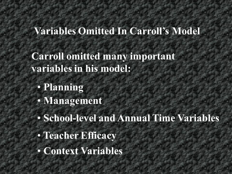Variables Omitted In Carrolls Model Carroll omitted many important variables in his model: Planning Management School-level and Annual Time Variables