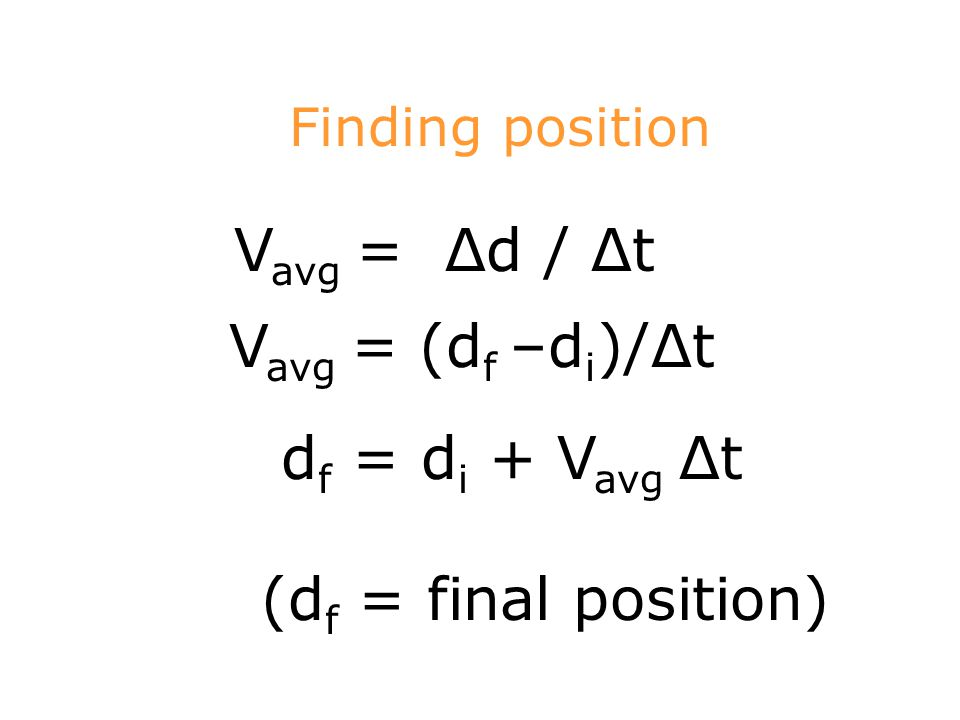 Finding position V avg = Δd / Δt V avg = (d f –d i )/Δt d f = d i + V avg Δt (d f = final position)