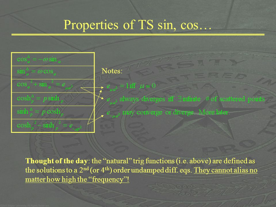 Properties of TS sin, cos… Thought of the day: the natural trig functions (i.e. above) are defined as the solutions to a 2 nd (or 4 th ) order undampe