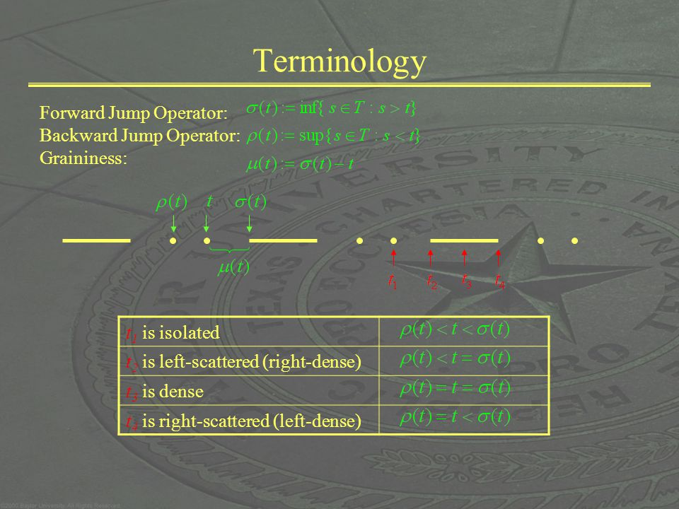 Terminology Forward Jump Operator: Backward Jump Operator: Graininess: t 1 is isolated t 2 is left-scattered (right-dense) t 3 is dense t 4 is right-s