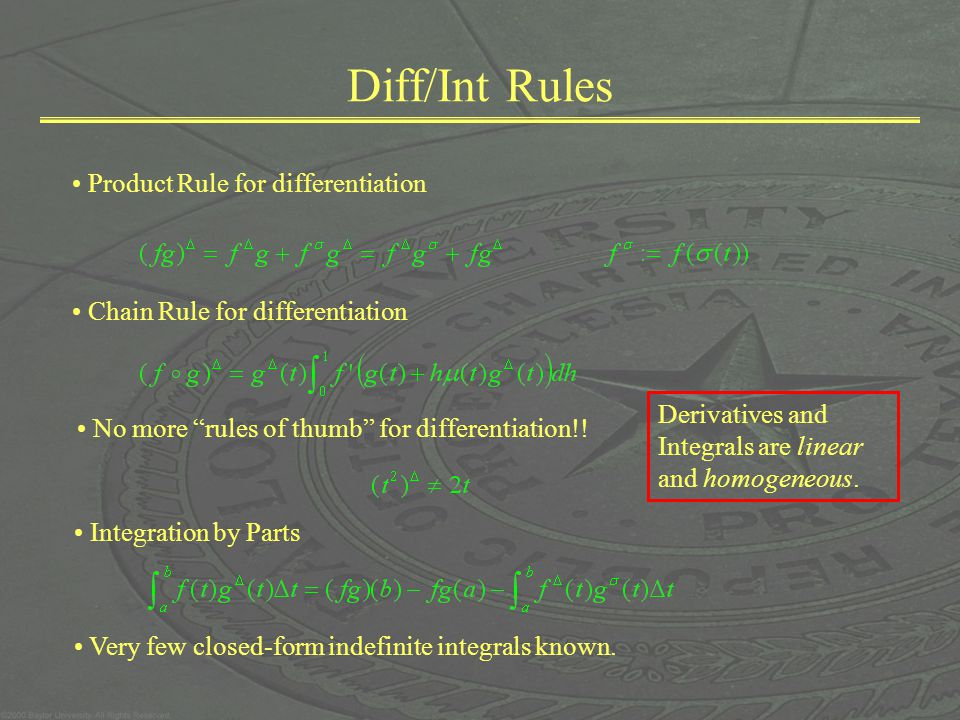 Diff/Int Rules Product Rule for differentiation Chain Rule for differentiation No more rules of thumb for differentiation!.